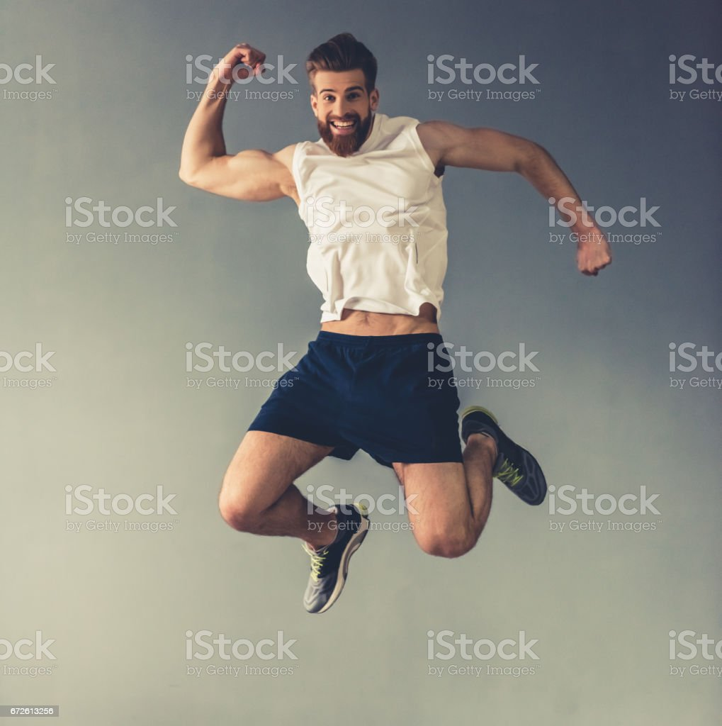 Handsome young sportsman - foto stock
