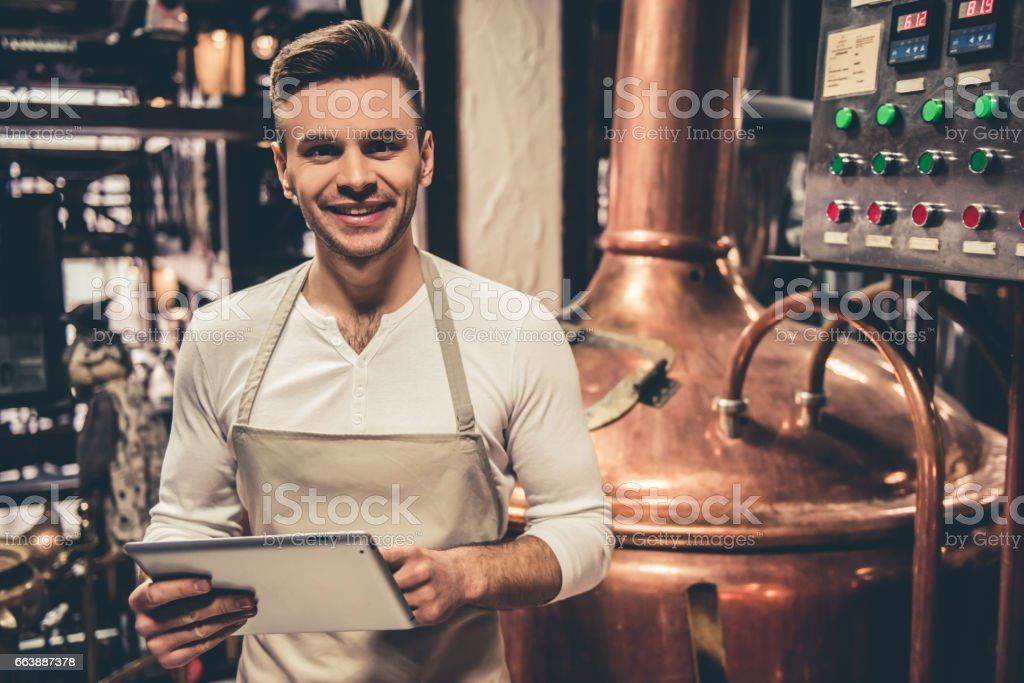 Handsome young waiter - foto stock
