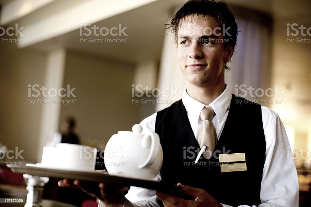 Handsome Young Waiter Portrait stock photo