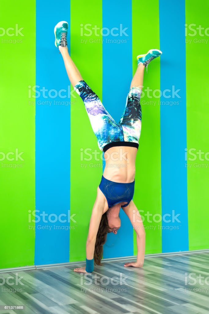 Handstand at the gym stock photo