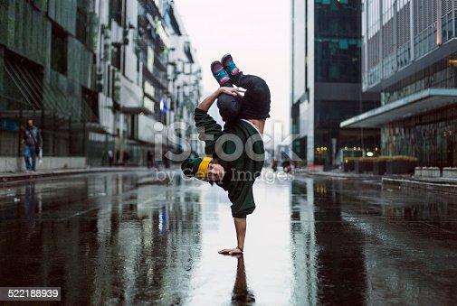 Handstand dancer in the street in Moscow, teenage dancer. Breakdancer. Hip Hop.