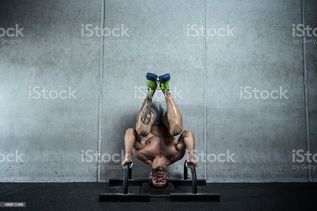 handstand push up stock photo