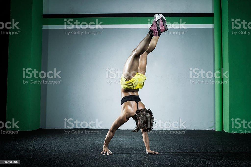 handstand walk stock photo