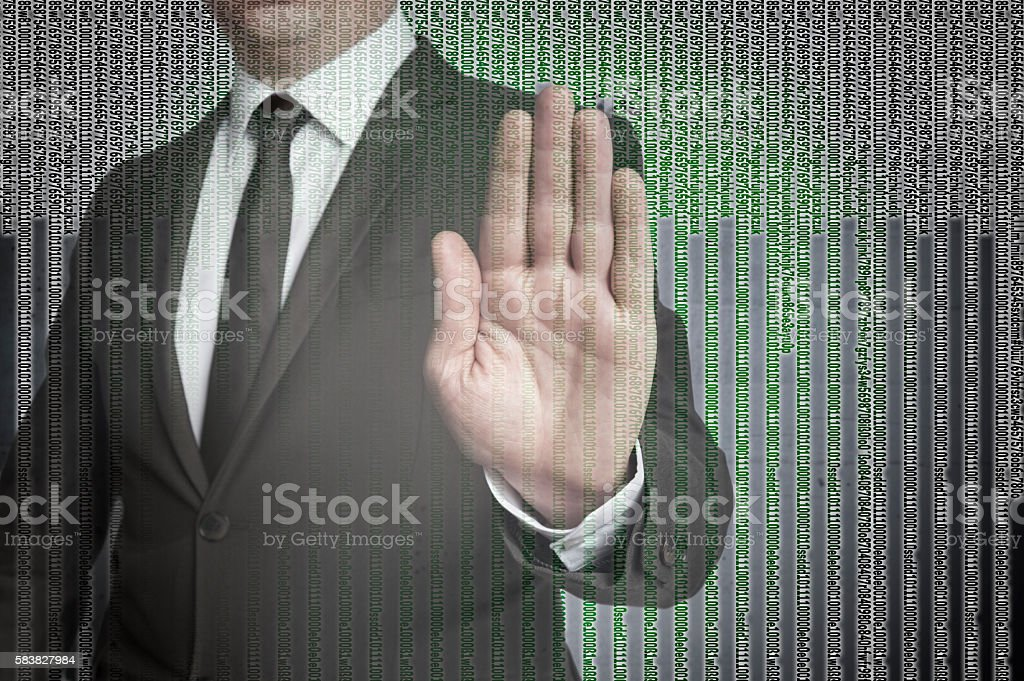 Handstop with matrix is shown by businessman – Foto