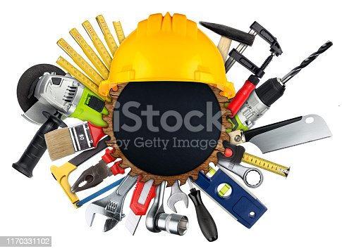 istock DIY handtools collage concept behind wooden buzz saw blade slate blackboard  with copy space isolated white background 1170331102