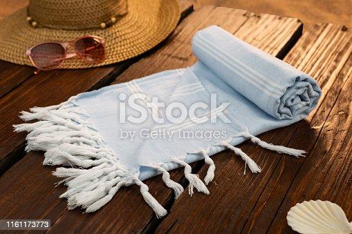 istock Handwoven hammam Turkish cotton towel 1161173773