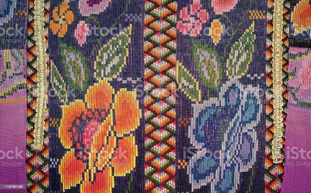 Handwoven textile detail Chichicastango Guatemala stock photo