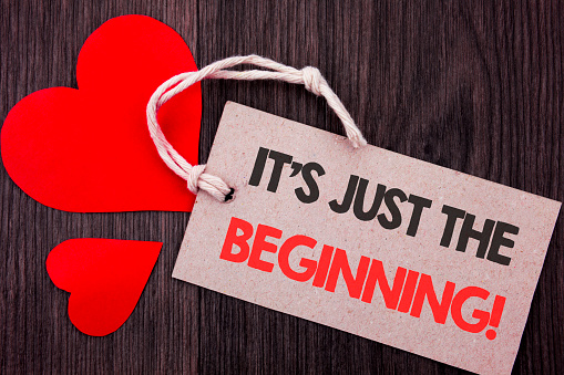istock Handwriting Announcement text showing It Is Just The Beginning. Business concept for Goal Success Plan For New Dream Life Career written on Price tag with Red words on the wooden background. 947549246