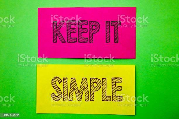Handwriting announcement text showing keep it simple conceptual photo picture id938742872?b=1&k=6&m=938742872&s=612x612&h=jvpg kukouoknhtgxiqaa2f2zcoconesi2ogu09tkqo=