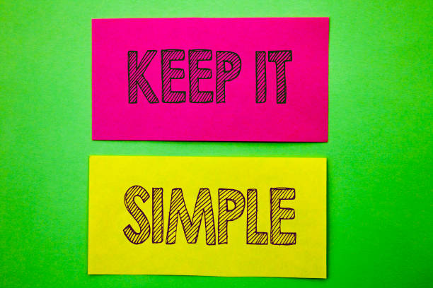 handwriting announcement text showing keep it simple. conceptual photo simplicity easy strategy approach principle written on sticky note paper on the green background. - stile minimalista foto e immagini stock