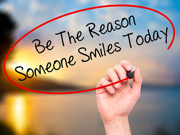 handwriting be the reason someone smiles today - monday motivation stock photos and pictures