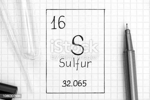 The Periodic table of elements. Handwriting chemical element Sulfur S with black pen, test tube and pipette. Close-up.