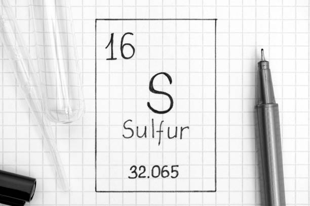 handwriting chemical element sulfur s with black pen, test tube and pipette. - zolfo foto e immagini stock