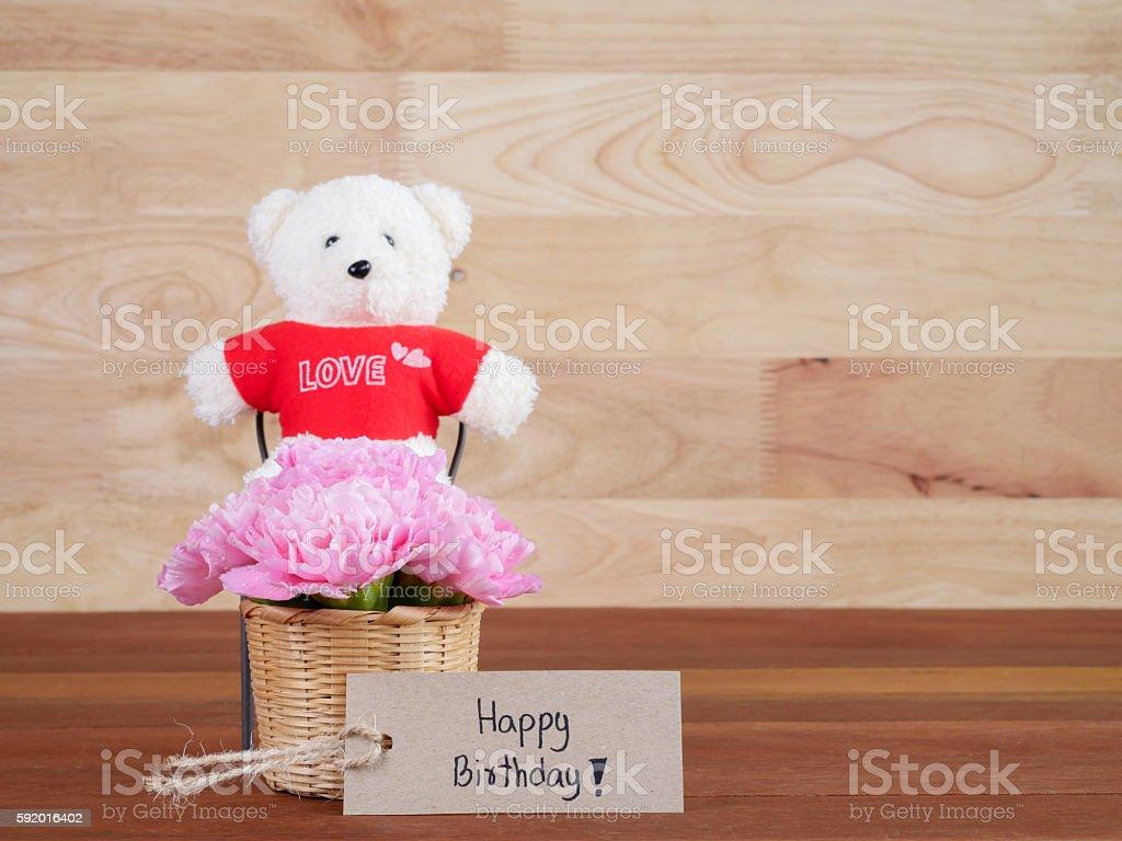 Handwriting Happy Birthday And Carnation Flower 2 Stock Photo More