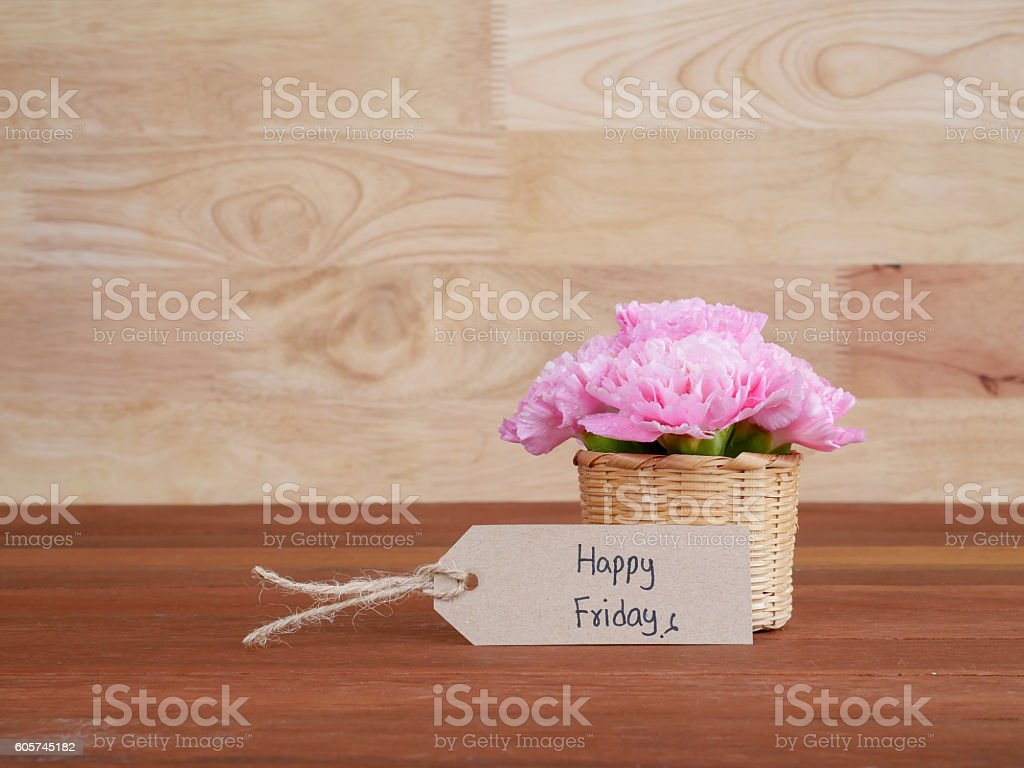 Handwriting Happy Friday and pink Carnation flower 3 stock photo