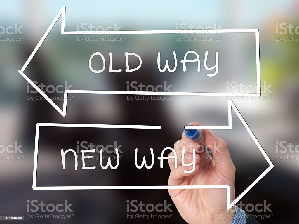 Handwriting Old Way or New Way with marker on visual screen stock photo