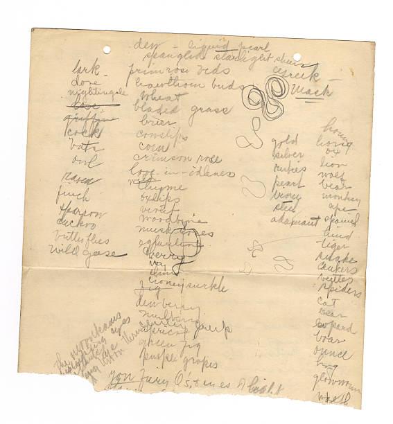 handschrift auf alten papier ich - scribble stock-fotos und bilder