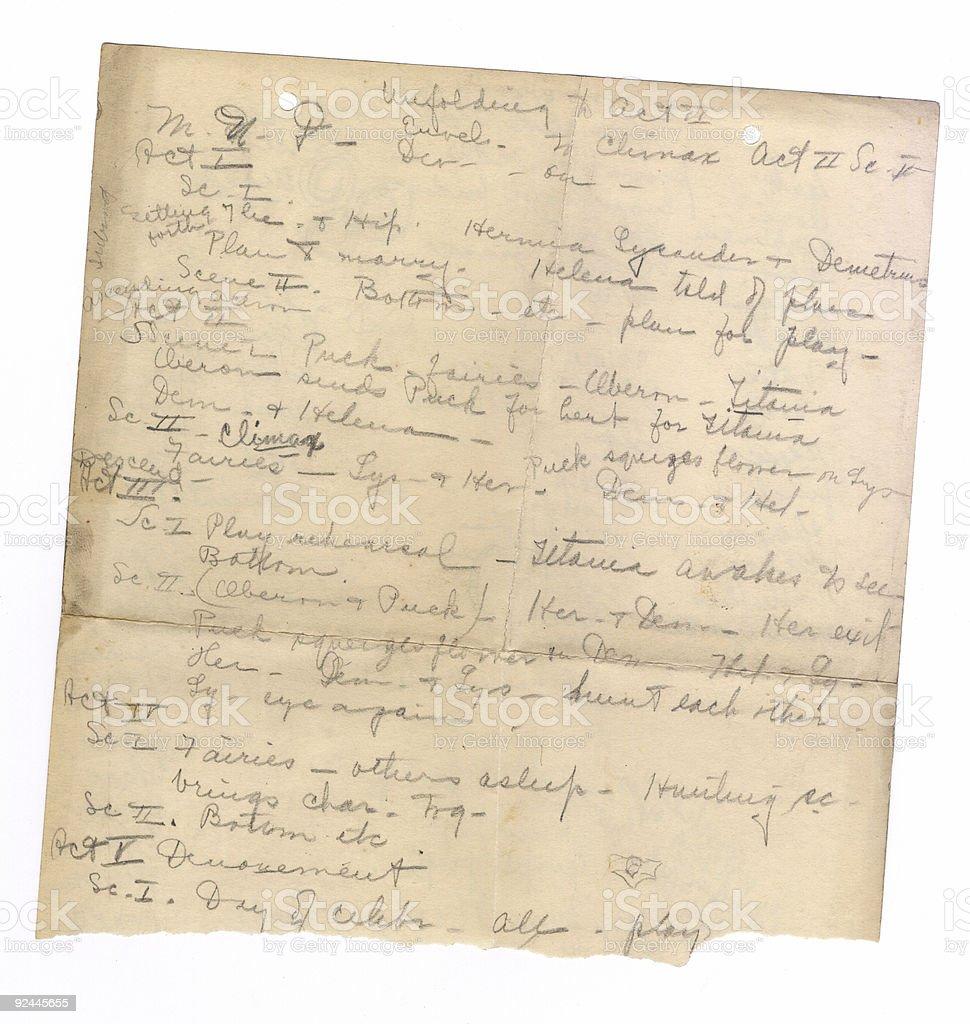 Handwriting on Old Paper II stock photo