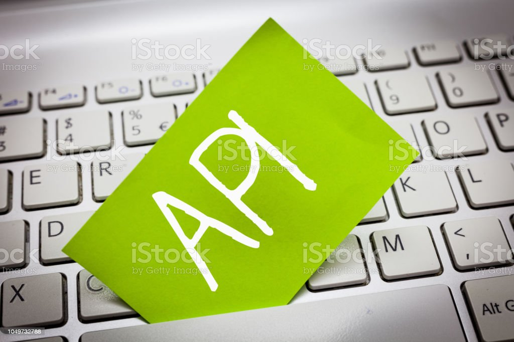 Handwriting text Api. Concept meaning Tools for building software Computer programming routines protocols stock photo