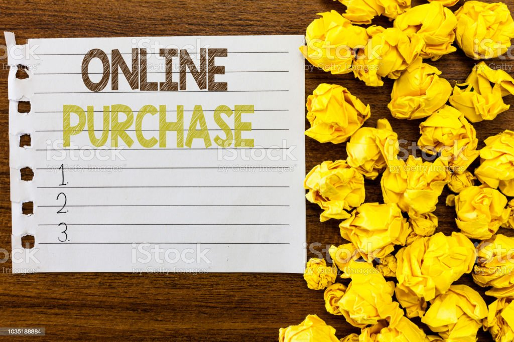 Handwriting text Online Purchase. Concept meaning Purchases electronic commerce goods from over the Internet stock photo