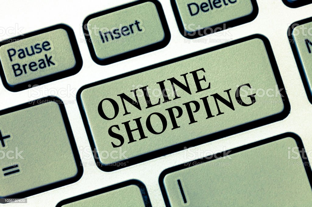 Handwriting text Online Shopping. Concept meaning allows consumers to buy their goods over the Internet stock photo