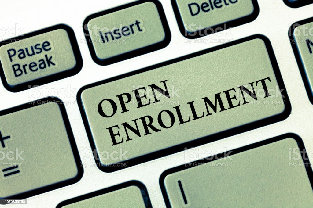 Handwriting Text Open Enrollment Concept Meaning The Yearly Period
