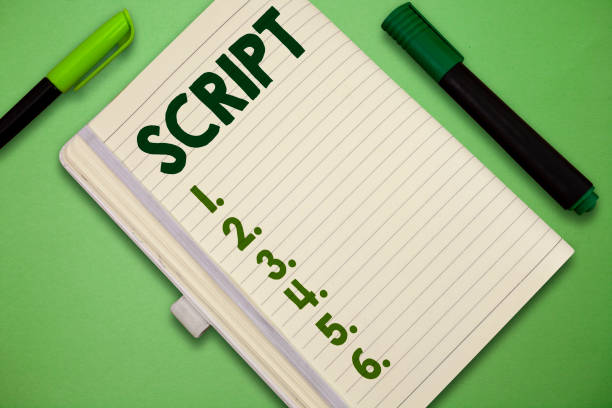 Handwriting text Script. Concept meaning handwriting as distinct from print written characters of play stock photo