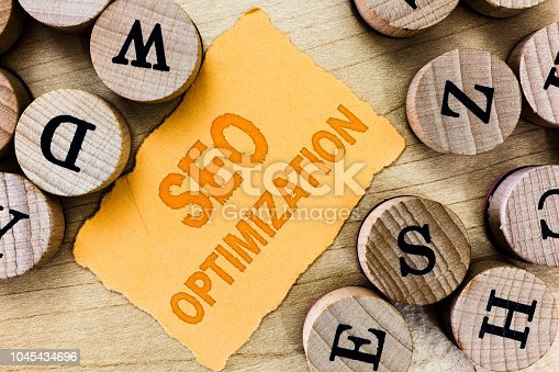 1045434476istockphoto Handwriting text Seo Optimization. Concept meaning process of affecting online visibility of website or page 1045434696