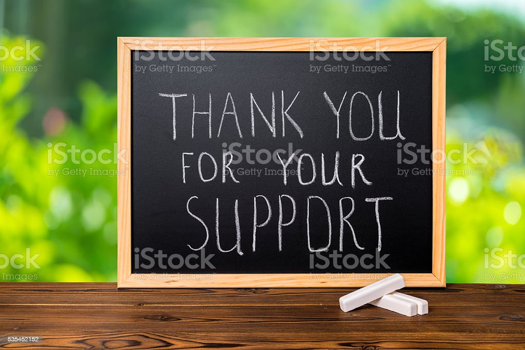 handwriting text thank you for your support is written stock photo