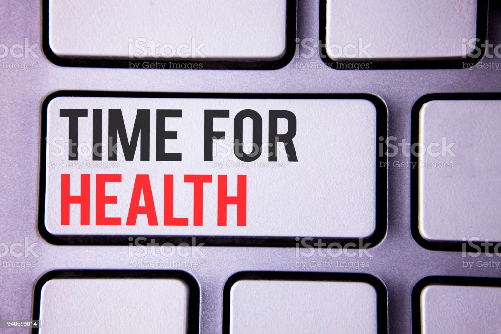 Handwriting text Time For Health. Concept meaning Lifestyle change health awareness wellness nutrition care  written on white keyboard key with copy space Top view. stock photo