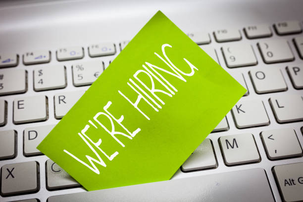 Handwriting text WE are RE HIRING. Concept meaning Need to employ someone Job vacancy Recruiting analysispower stock photo