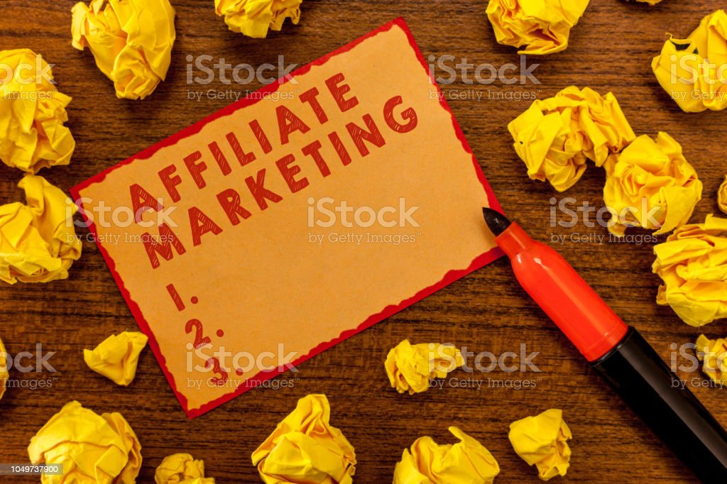 Handwriting text writing Affiliate Marketing. Concept meaning Promoting another demonstratings product Earning a Commission stock photo
