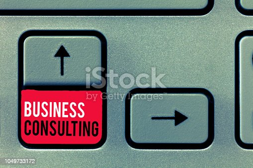 istock Handwriting text writing Business Consulting. Concept meaning Blends Practice of Academic Theoretical Expertise 1049733172