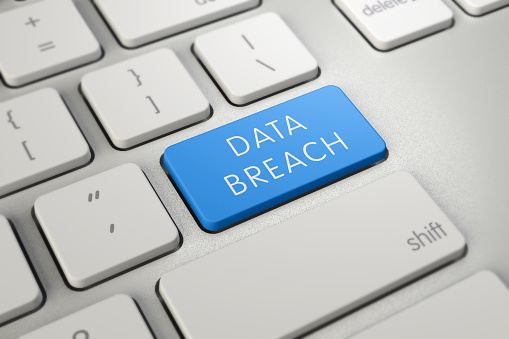 istock Handwriting text writing Data Breach. Concept meaning security incident where sensitive protected information copied Keyboard blue key Intention create computer computing reflection document. 1147875304
