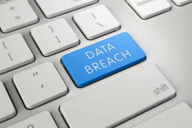 Handwriting text writing Data Breach. Concept meaning security incident where sensitive protected information copied Keyboard blue key Intention create computer computing reflection document. Breaking, Internet, Technology, UK, Breaching identity theft stock pictures, royalty-free photos & images