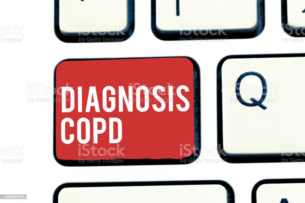 Handwriting text writing Diagnosis Copd. Concept meaning obstruction of lung airflow that hinders with breathing stock photo