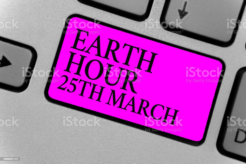 Handwriting Text Writing Earth Hour 25th March Concept Meaning