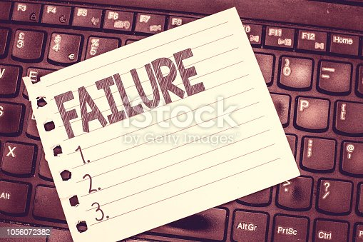 istock Handwriting text writing Failure. Concept meaning neglect or omission expected required action lack of success 1056072382