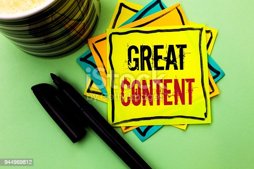 istock Handwriting text writing Great Content. Concept meaning Excellent Information Valuable Interesting Good Convenient written on Sticky Note Paper on the Plain background with Pen and Coffee Cup. 944969812