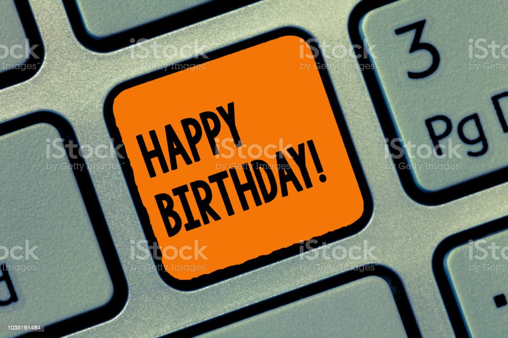 Handwriting text writing Happy Birthday. Concept meaning The birth anniversary of a person is celebrated with presents stock photo