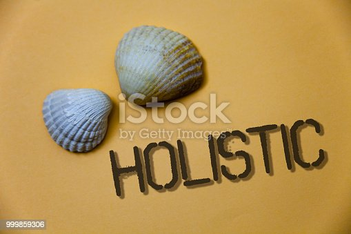 istock Handwriting text writing Holistic. Concept meaning Belief the parts of something are interconnected Related to holism Grunge ideas messages shells light brown background beach memories thoughts. 999859306