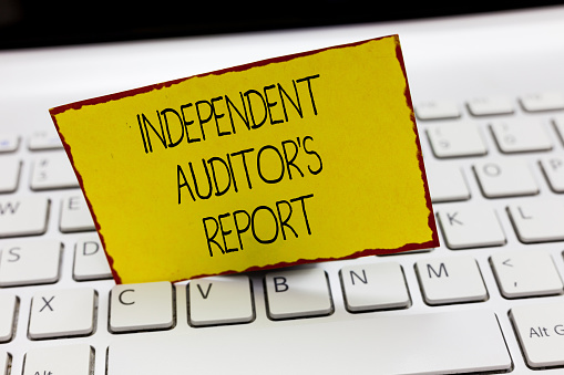 istock Handwriting text writing Independent Auditor s is Report. Concept meaning analyze Accounting and Financial Practices 1049736504