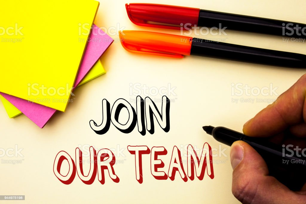 Handwriting text writing Join Our Team. Concept meaning Be a Part of our Teamwork Workforce Wanted Recruitment written by Marker on the plain background Pen and Sticky Notes next to it. stock photo