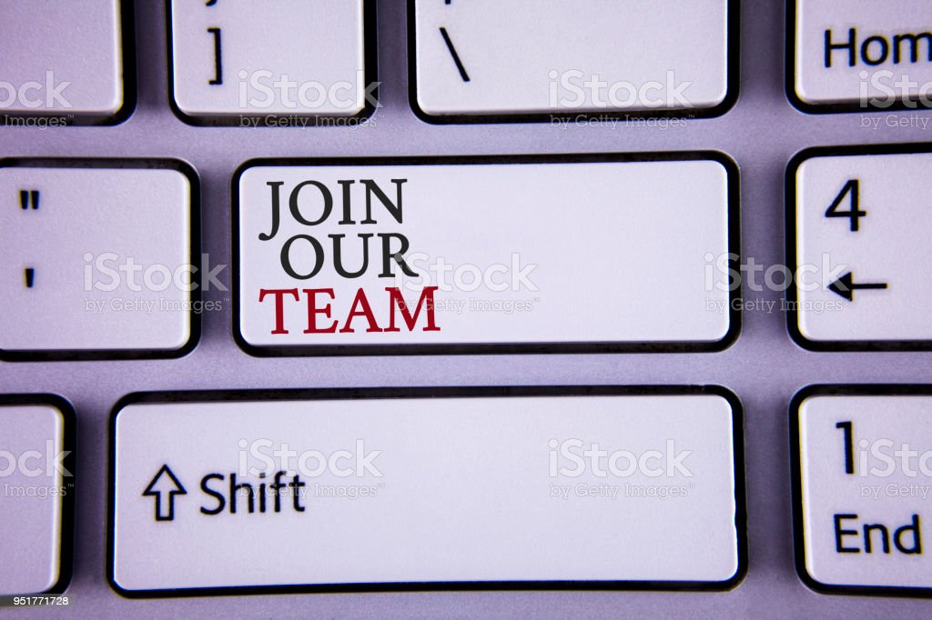Handwriting text writing Join Our Team. Concept meaning Get over unemployment joining better career workforce written on white keyboard key with copy space Top view stock photo