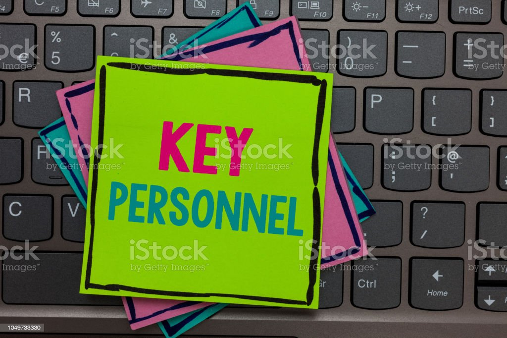 Handwriting text writing Key Personnel. Concept meaning Program Directors Principal Investigator Project Executives Papers reminders keyboard Inspiration communicate Annotations Type computer. stock photo