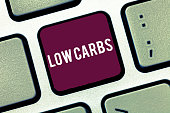 istock Handwriting text writing Low Carbs. Concept meaning Restrict carbohydrate consumption Weight loss analysisagement diet 1057680060