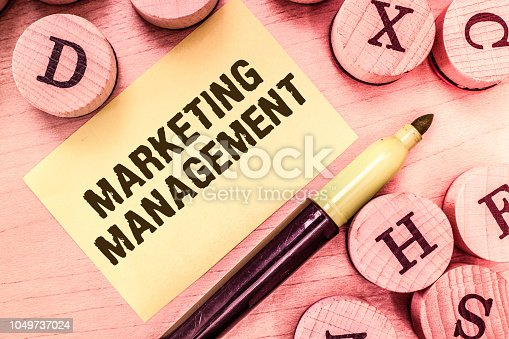 istock Handwriting text writing Marketing Management. Concept meaning Develop Advertise Promote a new Product or Service 1049737024