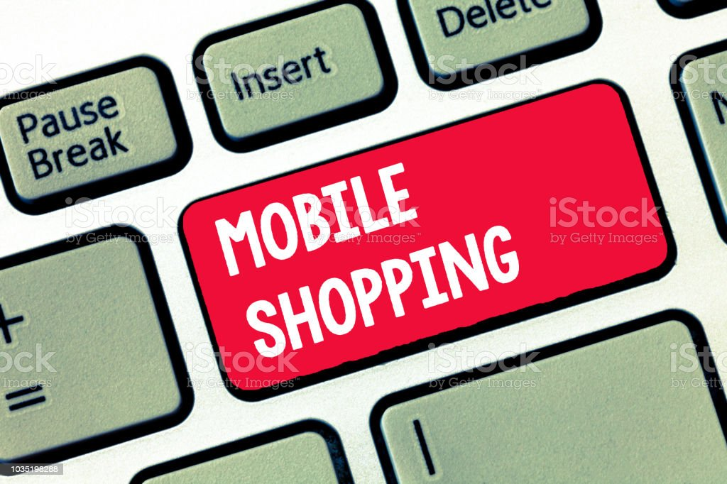Handwriting text writing Mobile Shopping. Concept meaning Buying and selling of goods and services through mobile stock photo