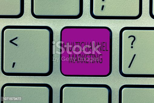 istock Handwriting text writing Multichannel Marketing. Concept meaning for a consumer to buy from whatever way is easier 1071573472