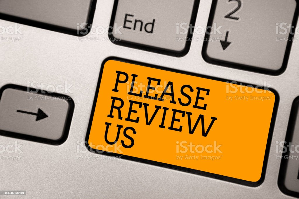 Handwriting text writing Please Review Us. Concept meaning Give a feedback Opinion Comments Quality of service Typing work computer job program input keyboard symbol office software. stock photo